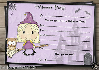 1-10 PERSONALISED KIDS HALLOWEEN LITTLE WITCHES PARTY INVITATIONS AND ENVELOPES - Kids Halloween Invitation