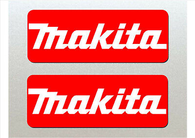 Makita 15cm Stickers x2 Red and White Toolbox, Vans etc Quality Laminated