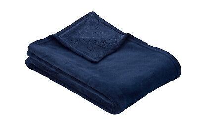 Midnight Blue Ibena OLBIA Luxuriously Soft Plain Fleece Warm Throw / Blanket
