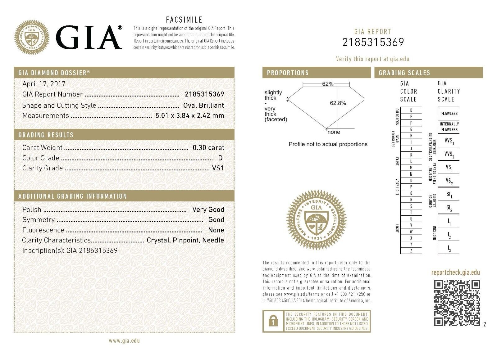 GIA loose diamond 0.30ct oval brilliant cut D VS1 5.01 x 3.84 x 2.42 mm NEW
