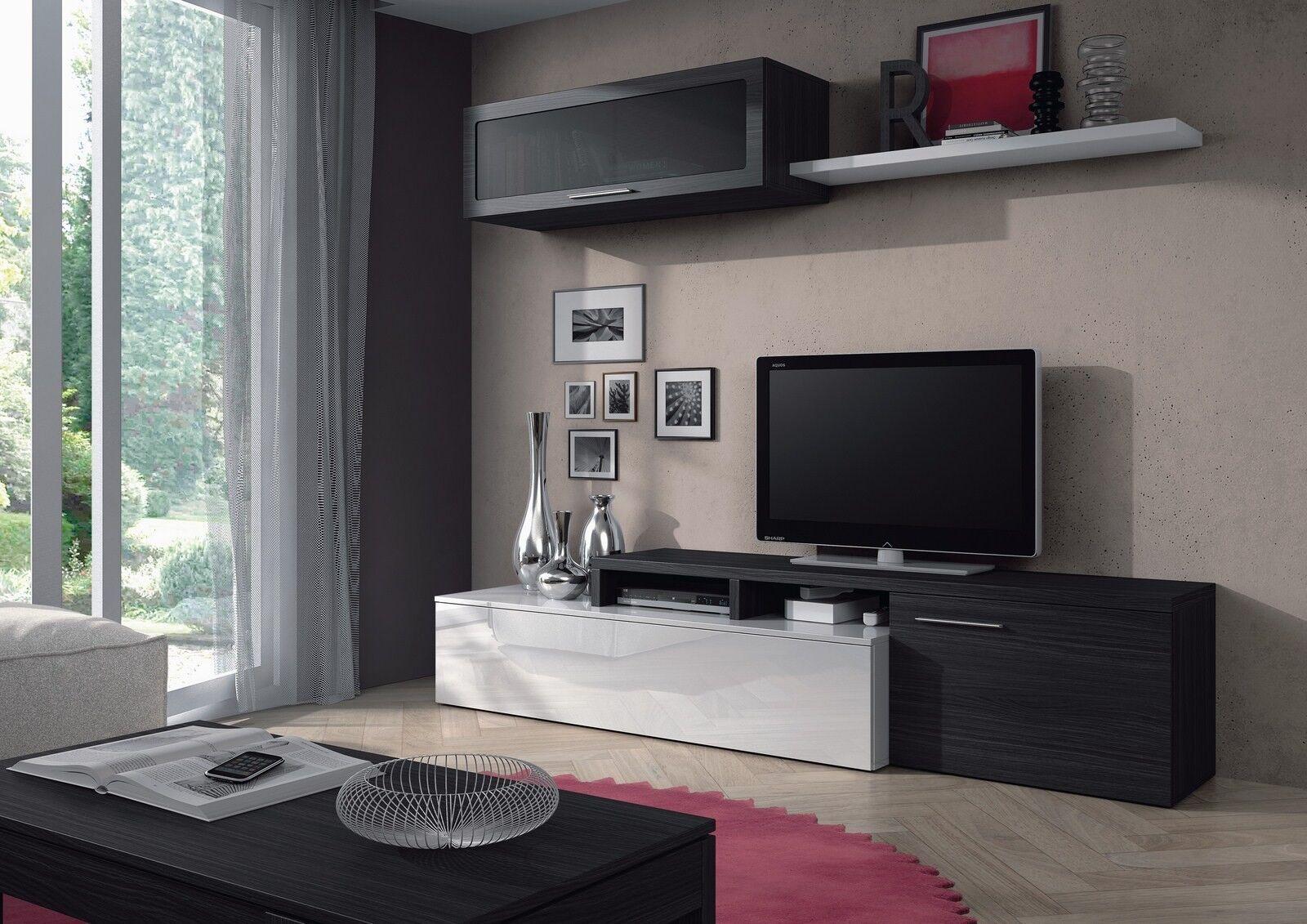 Mueble salón TV modular, color Blanco Brillo y Gris Ceniza 200cm.
