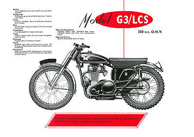 1957 Matchless G3/LCS 350cc motorcycle poster