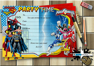 Power Rangers Invitations (SUPERHEROES & POWER RANGERS PARTY INVITATIONS,THANK YOU CARDS & ENVELOPES)
