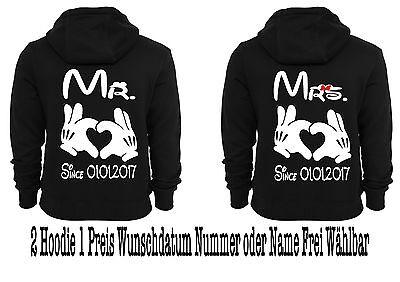 Hoodie Pullover Mr Mrs Motiv Partnerlook Pärchen Viele Farben XS - 5XL One Love