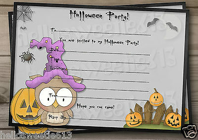 1-10 PERSONALISED KIDS HALLOWEEN OWLS PARTY INVITATIONS AND ENVELOPES - Kids Halloween Invitation