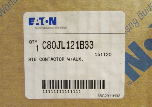 EATON CUTLER HAMMER C80JL121B33 600 Amp 600VDC 916 DC Contactor Size 6 with Aux