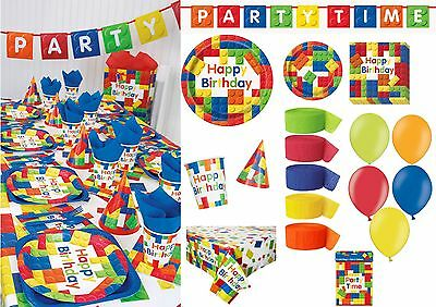 Lego Theme Building Block Bricks Happy Birthday Napkins Balloons Tableware ideas