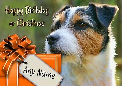 Personalised Rough Coat Jack Russell Birthday or Christmas Card + blank insert