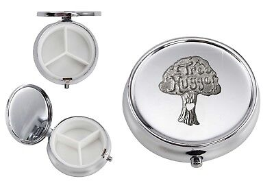 Tree Hugger GT120 English Pewter On A Mirrored 3 Section Pill Container Box