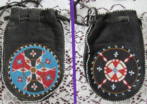 Old Plains Cree Beaded Pouch with big rosettes on each side ( 1940s? )