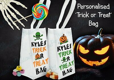 PERSONALISED HALLOWEEN TRICK OR TREAT BAG PARTY GIFT BAG WITH YOUR NAME - Unique Halloween Party Names