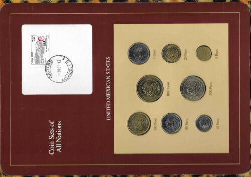 Coin Sets of All Nations Mexico 1985-1990 UNC Rare set 10,50,1000 Pesos 1990