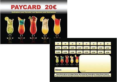 100 Paycard Guthabenkarten Bezahlkarten Abstreichkarten Verzehrkarten Wertmarken