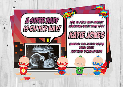 Personalised Girl Baby Shower Invites with Envelopes, its a girl, Girl Superhero (Superhero Baby Shower Invitations)