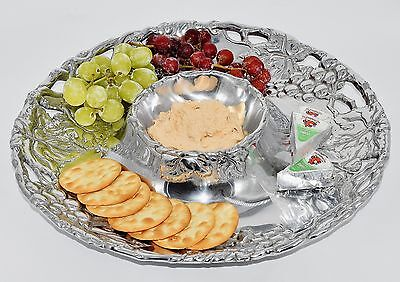 "Arthur Court Grape 14"" Round Chip And Dip Tray XLNT"