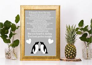Penguin Ed Sheeran Perfect inspired lyric song print a4 lovely gift word art