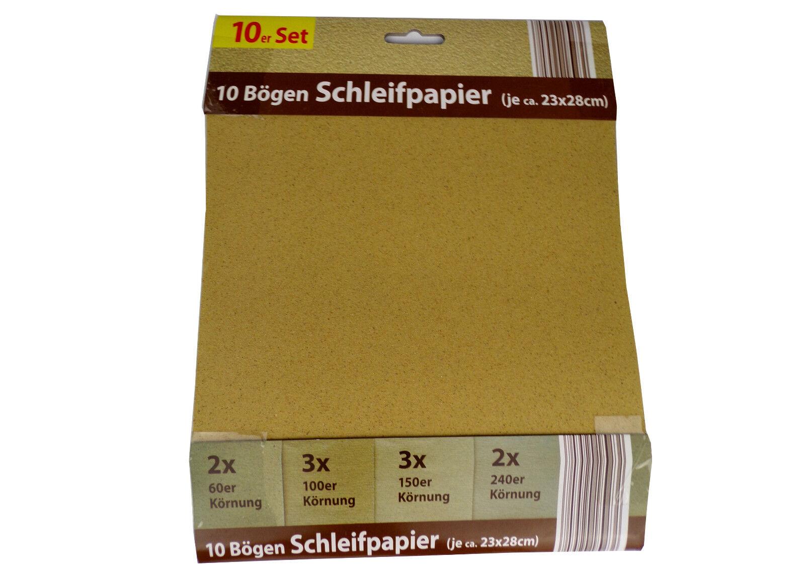Schleifpapier Set 20 Blatt 60,100,150,240 Körnung 23x28cm Hobby Schmirgelpapier