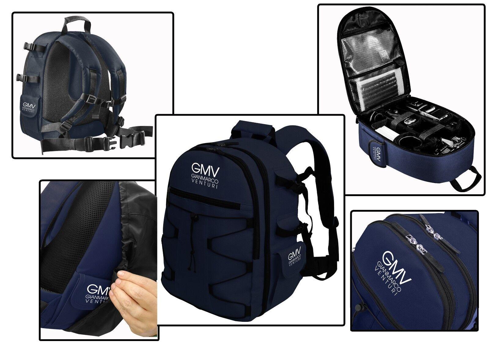 Zaino Reflex Blu per fotocamera SLR e accessori + COVER ANTIPIOGGIA GMV NERA