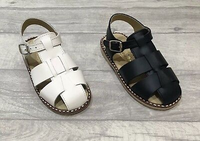 Boys Spanish Leather Sandals White Navy