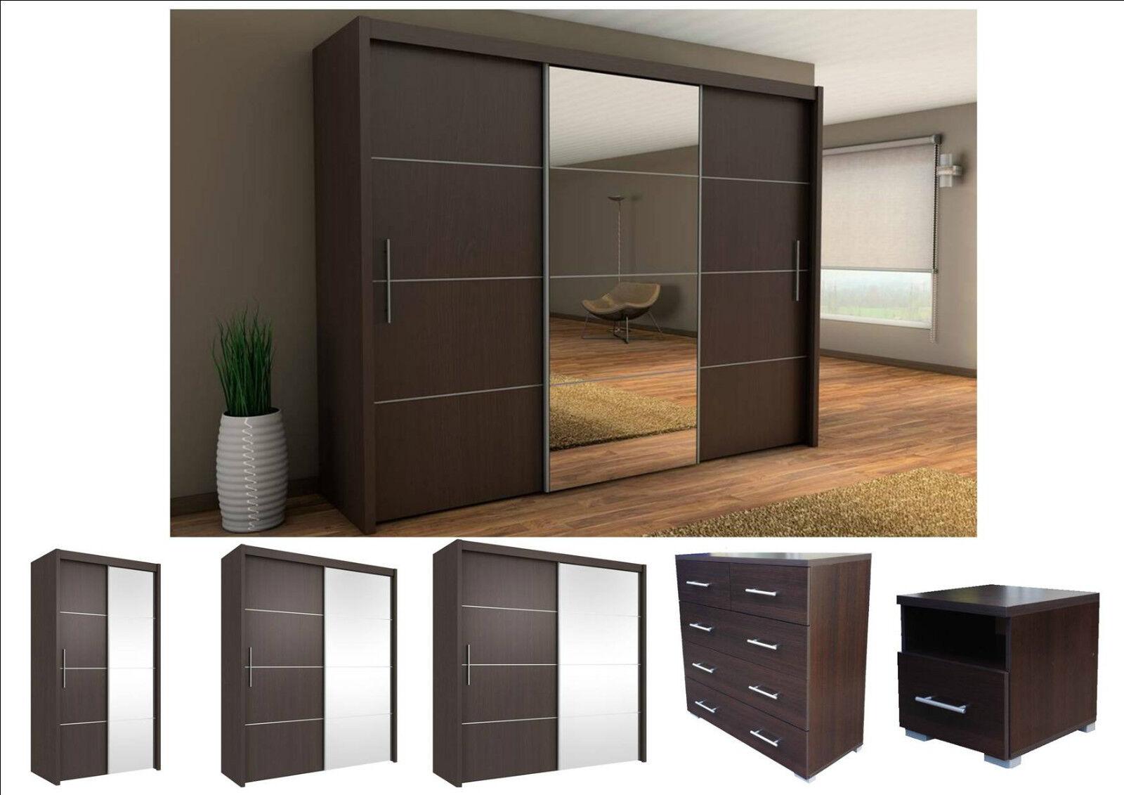 Inova Sliding Door Wardrobe Wenge Bedroom Furniture Bedside Chest Of Drawers