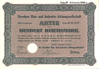 Dresdner Bau- und Industrie-AG 100 RM 1928 Dresden