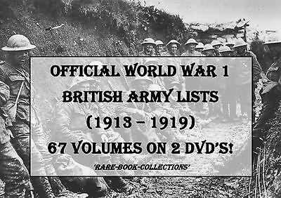 WORLD WAR 1 BRITISH ARMY LISTS - 67 VOLUMES 2 DVDs (1913-1919) WW1 MEDAL UNIFORM