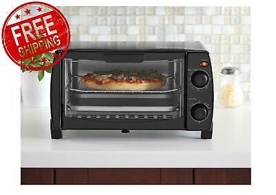 Mainstays 4 Slice Black Toaster Oven with Dishwasher-Safe Ra