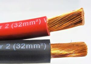 50' FT EXCELENE 2 AWG GAUGE WELDING BATTERY CABLE 25' RED & 25' BLACK USA  LEADS