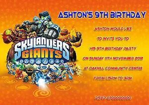 10-personalised-Childrens-Birthday-invitations-Skylanders-Kids-party-invites