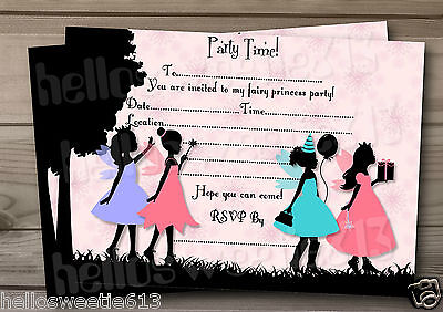 Fairy Princess Birthday Invitations - 1-10 SILHOUETTE FAIRY PRINCESS BIRTHDAY PARTY INVITATIONS OR THANK YOU CARDS
