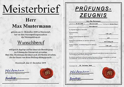 Meisterbrief Prüfungszeugnis Diplom Zeugnis Meisterdiplom Meistertitel - UK-263