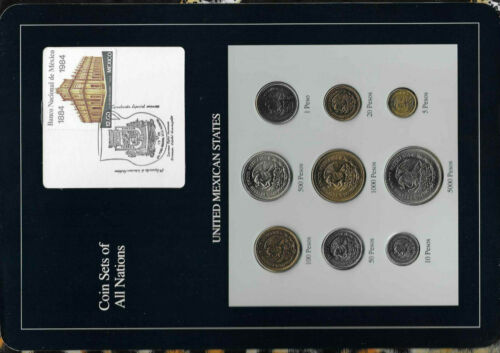 Coin Sets of All Nations Mexico 1985-1990 UNC 5,10,20,500,1000,5000 Peso 1988