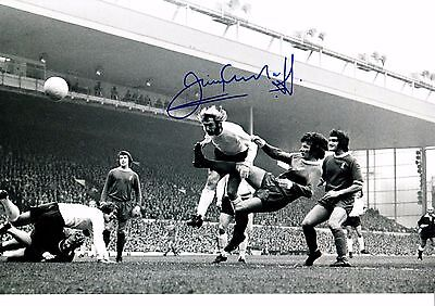 JIMMY GREENHOFF HAND SIGNED BLACK AND WHITE PHOTOGRAPH 12 X 8 INCH