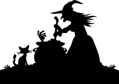 Halloween Witch Window Silhouettes (Window Wall Display Happy Halloween Witch & Cauldron Silhouette Vinyl Sticker)