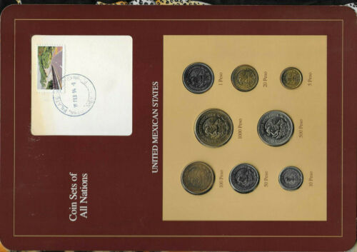 Coin Sets of All Nations Mexico 1987-1990 UNC 10,50,100,1000 Pesos 1990 16FEB94