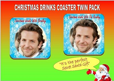 Bradley Cooper Novelty Christmas Drinks Coaster Twin Pack Set Secret Santa Gift ()