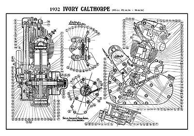 1932 Ivory Calthorpe cutaway engine poster