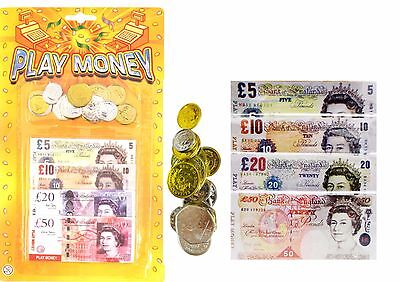 Childrens Kids Play Fake Pretend Money Role Shops Cash £ Pound Notes Coins Toy