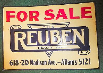 Vintage rare For Sale Toledo ohio Reuben Realty porcelain sign,618 Madison Ave