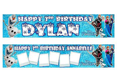 2 x Frozen Personalised Childrens Birthday Banner.  ()