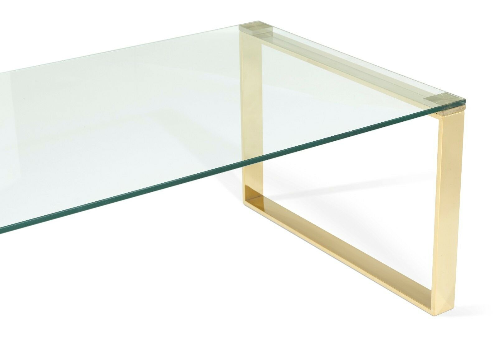 Asger glass top coffee table in steel gold or rose gold for Metal frame glass coffee table