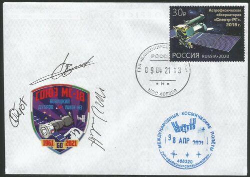 Soyuz MS-18 spacecraft/ astronaut autographs Vande Hei /Novickiy /Dubrov/ COA