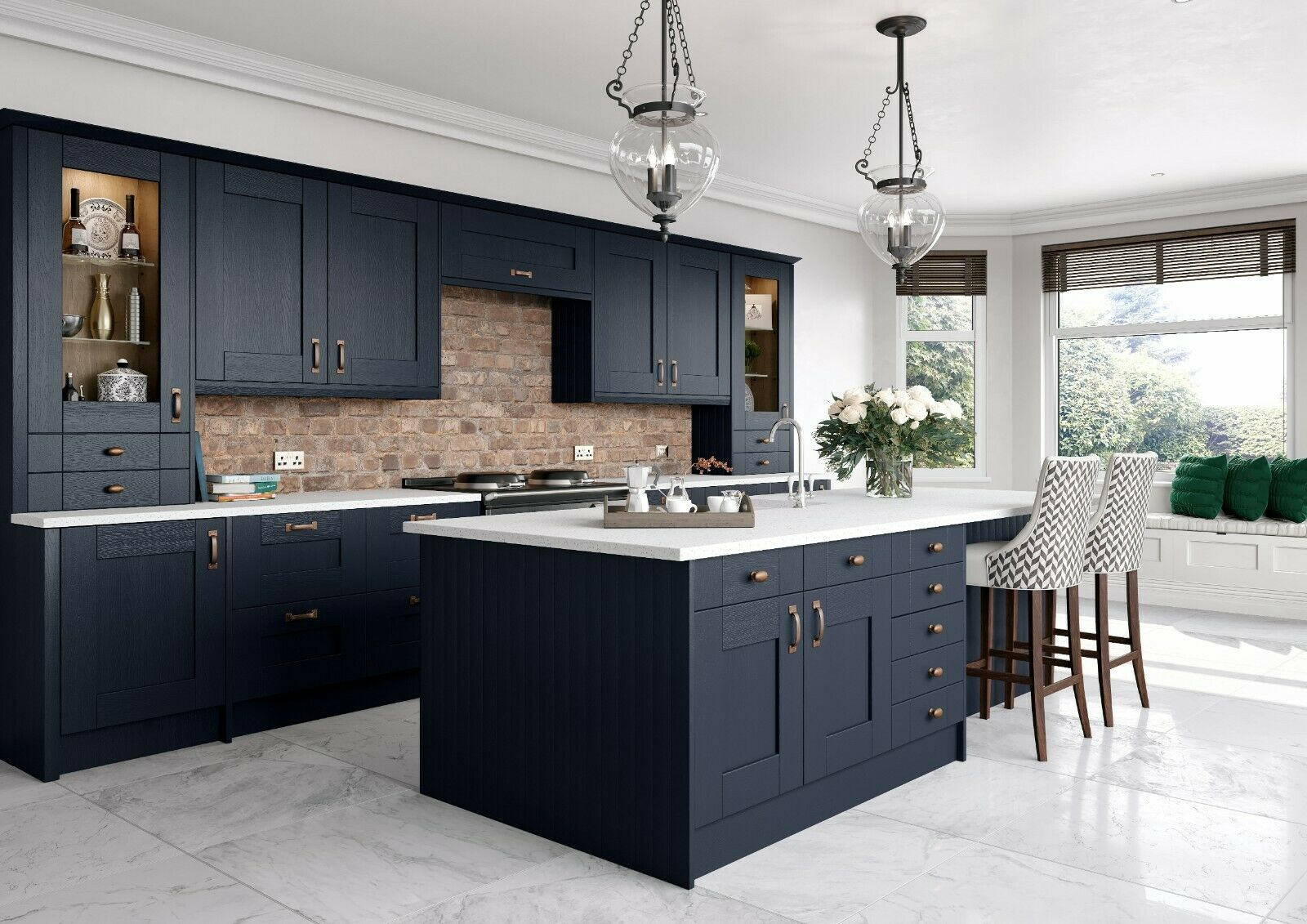 New Navy Blue Shaker Replacement Kitchen Doors Not White Light Grey Graphite Ebay