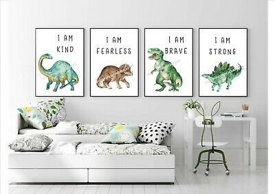 A4 dinosaur prints Children's Bedroom Prints Artwork Nursery 4 prints