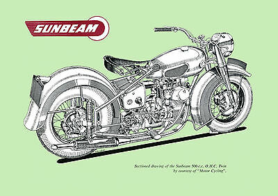 1954 Sunbeam Model S7 500cc OHC Motorcycle poster