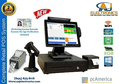 Retail Pc America -cash Register Express Pos Cre W Id Scanner Label Printer
