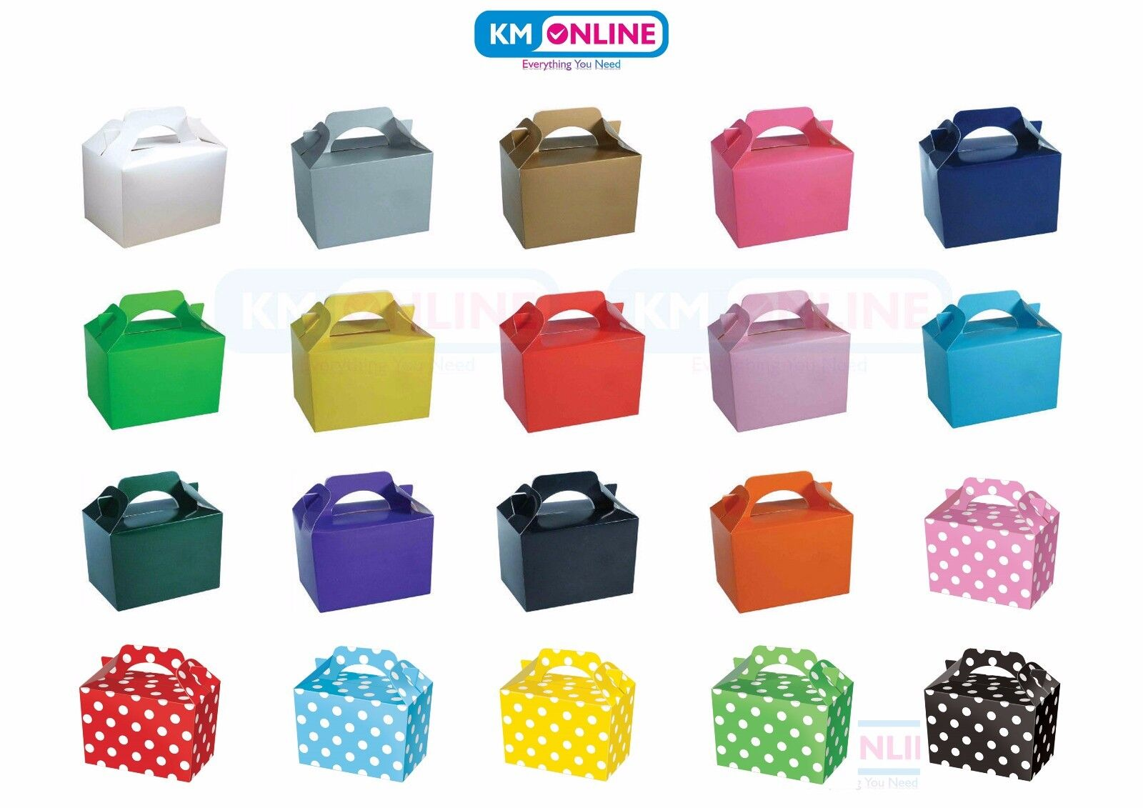 Coloured Party Boxes for Children Kids Food Loot Lunch Gift