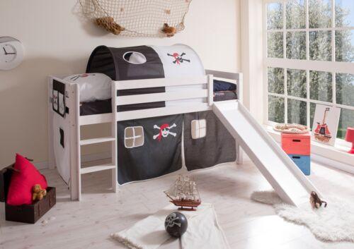 rutschbett hochbett mit rutsche spielbett kinderbett wei pirat schwarz wei neu - Hausgemachte Etagenbetten Mit Rutsche