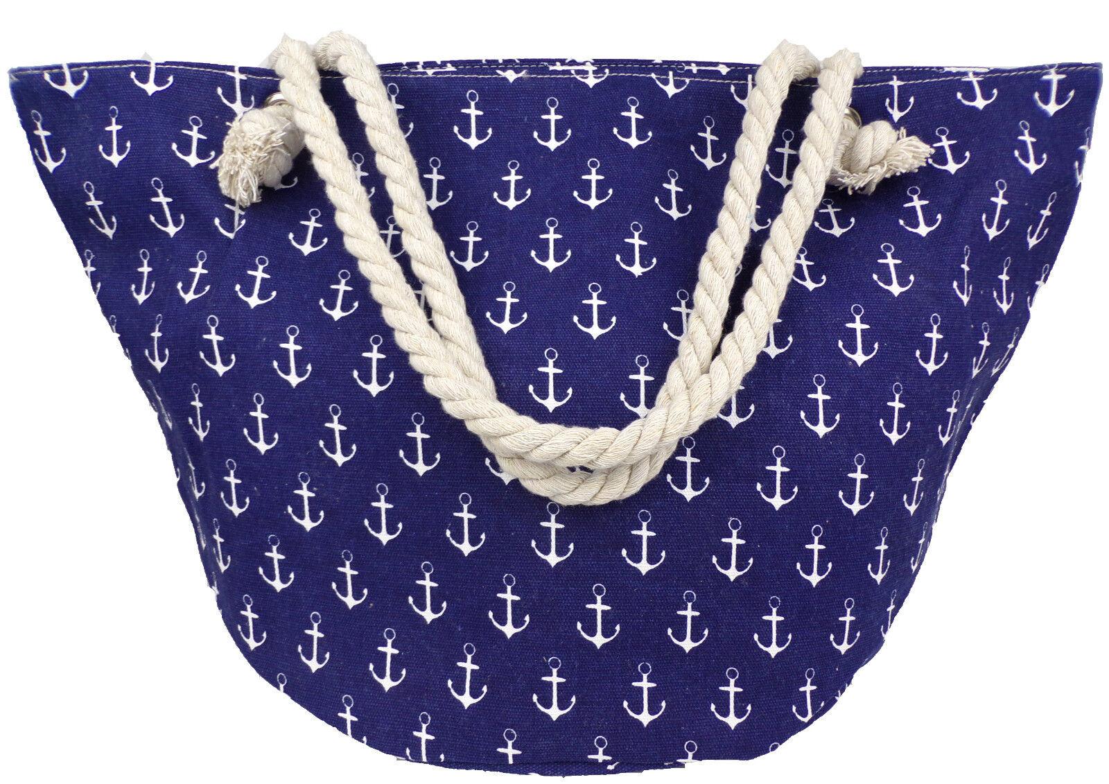 Damen Handtasche groß blau Textil Anker maritim Tragetasche Seil