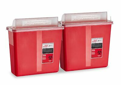 Adirmed Sharps Disposable Biohazard Container 5 Quart Mailbox Style Lid - 2 Pack